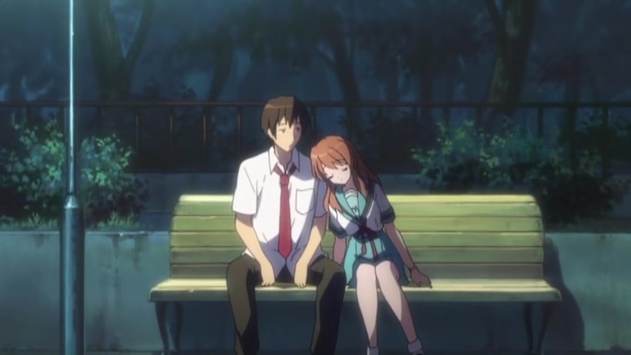 Asahina asleep in the park. Good thing Kyon's a nice guy.